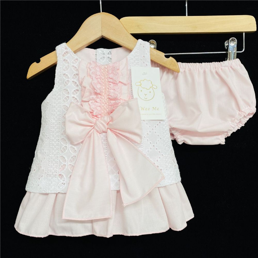*Baby Girl White Pink A Line Dress with pants